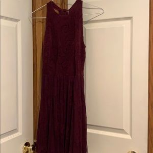 maroon velvet lace dress